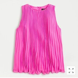 J crew Sleeveless pleated georgette blouse Pink